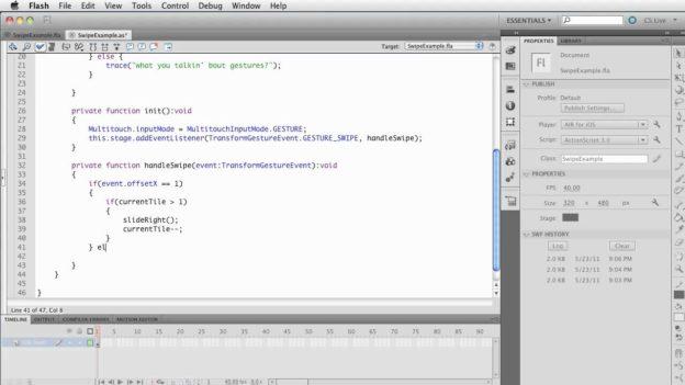 Flash CS5.5- iOS Multitouch – Swipe – setup