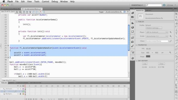 Flash CS5.5: Converting timeline code to Document Class – Accel demo