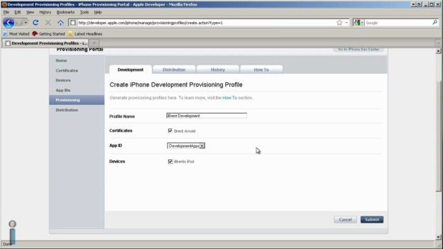 Create a Provisioning Profile in the iPhone Provisioning Portal